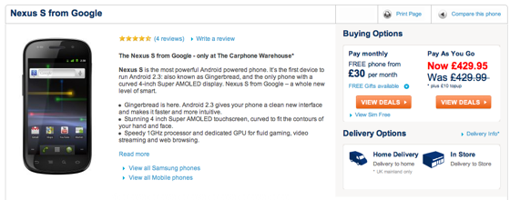 Carphone Warehouse generous Nexus S discount