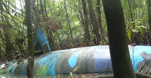 Exterior shot of the drug smuggling sub at Ecuadorean jungle 'shipyard'. Credit: DEA