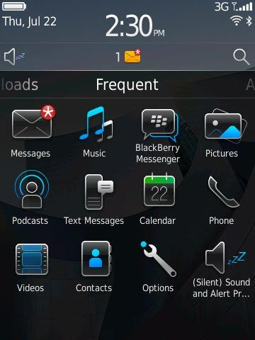 Blackberry 6 homescreen notification