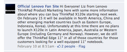 Lenovo on Facebook