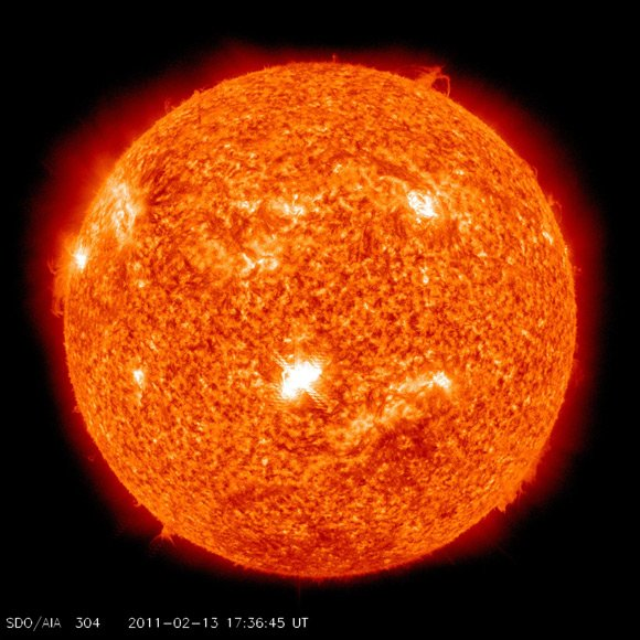 NASA Solar Dynamics Observatory image of flare coming from sunspot 1158