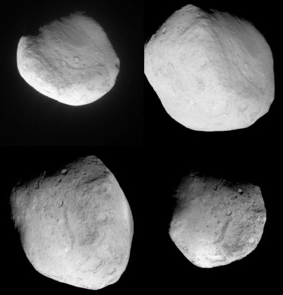Four views of Tempel 1 as seen by Stardust. Image: NASA