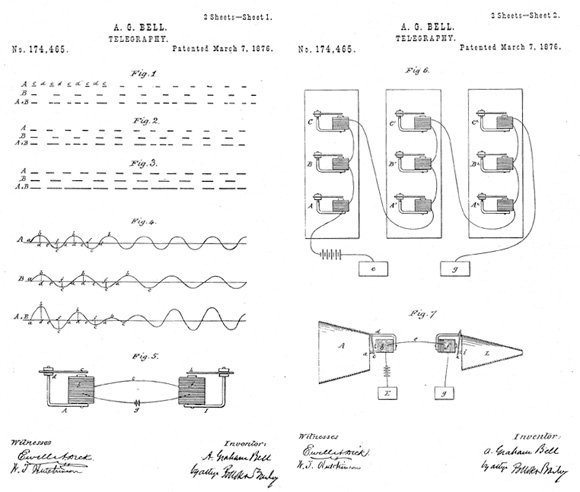 Alexander Graham Bell's 1876 telephone-patent illustrations