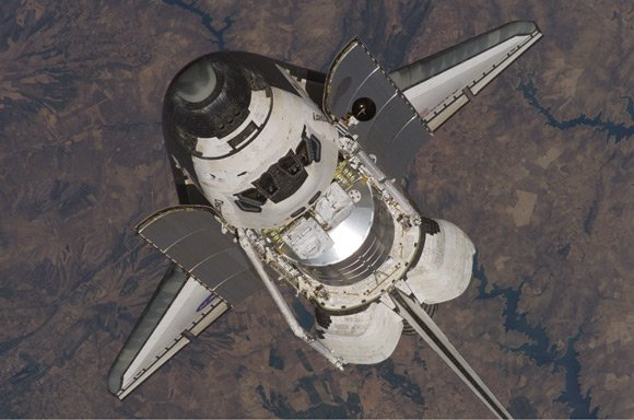 Discovery just prior to docking with the ISS. Pic: NASA