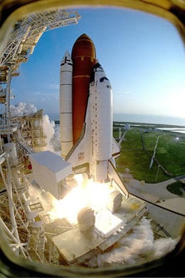 Discovery lifts off from Kennedy Space Center on 12 September 1993, to be