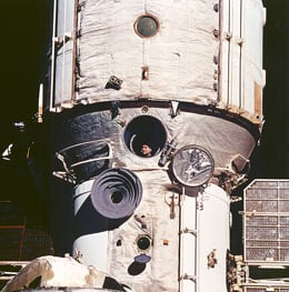 Cosmonaut Valeriy V Polyakov looks out Mir's window during the rendezvous with Discovery. Pic: NASA.