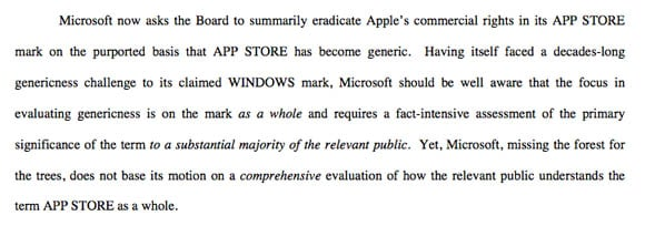 Detail of Apple's USPTO argument against Microsoft