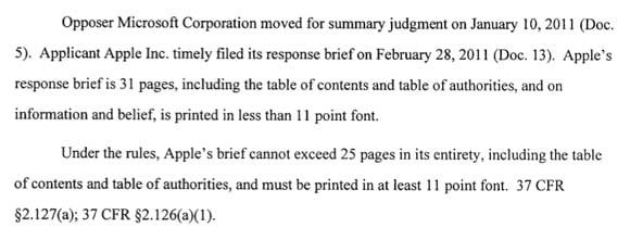 Detail of Microsoft's USPTO argument against Apple