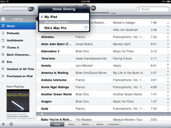 iTunes Home Sharing in iOS 4.3 on an iPad