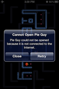 Pie Guy offline on iOS 4.3