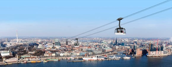 Artist's impression of the cable car over the Elbe. Pic: Doppelmayr/Stage Entertainment