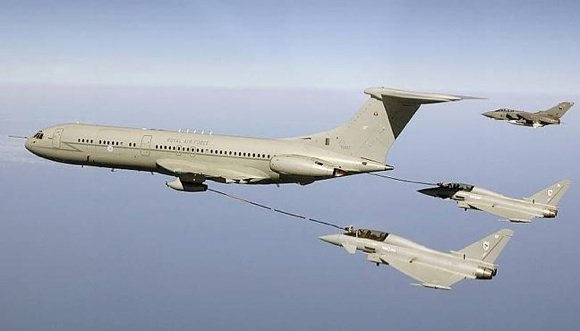RAF Eurofighter Typhoons take fuel from a VC10 tanker above the Mediterranean while a Tornado awaits its turn. Credit: Crown Copyright/SAC Taz Hetherington