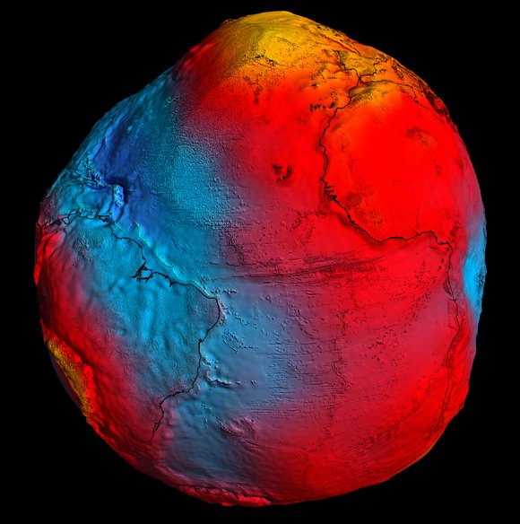 The GOCE geoid. Pic: ESA