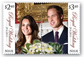 The Niue wedding stamps with perforation separating the happy couple