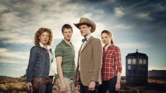 Alex Kingston, Arthur Darvill, Matt Smith and Karen Gillan. Pic: BBC