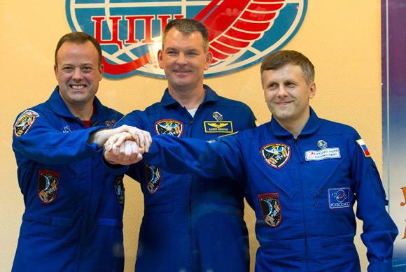 Ronald Garan, Alexander Samokutyayev and Andrei Borisenko snapped at Baikonur Cosmodrome. Pic: NASA