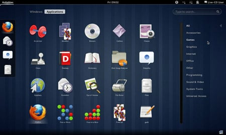 The GNOME 3 Shell with apps