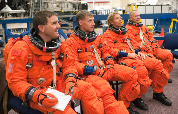 The Atlantis crew pictured at Johnson Space Center. Pic: NASA