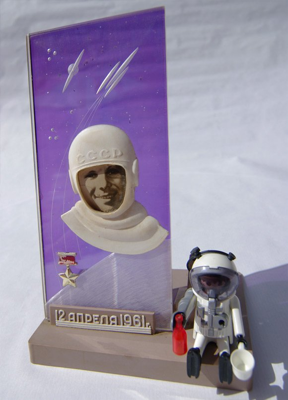 The Yuri Gagarin pen holder and out own heroic Playmonaut
