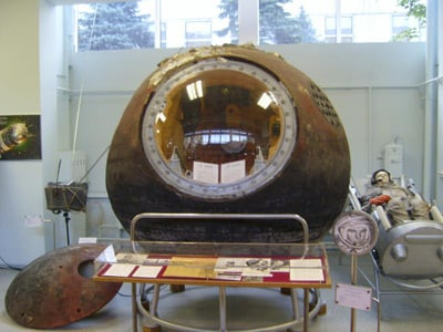 The Vostok I capsule displayed at the RKK Energiya Museum outside of Moscow. Pic: Wikipedia/SiefkinDR