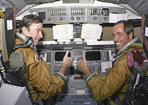 John Young and Robert Crippen pose on the flight deck of Columbia. Pic: NASA