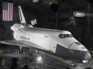Enterprise on display at the Udvar-Hazy Center. Pic: Smithsonian National Air and Space Museum