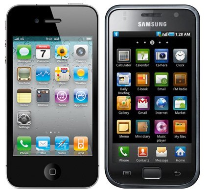 Apple iPhone 4 (left) and Samsung Galaxy S (right)