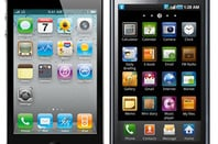 Apple iPhone 4 (left) and Samsung Galaxy S 4G (right)