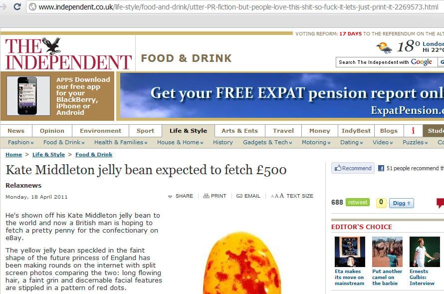 kate middleton jelly bean. claim that Kate Middleton