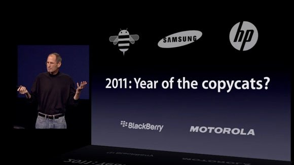 Steve Jobs calls 2011 'The year of the copycats' during the announcement event for the iPad 2