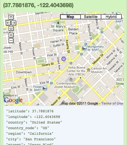 Screen capture of Reg router on Google Maps