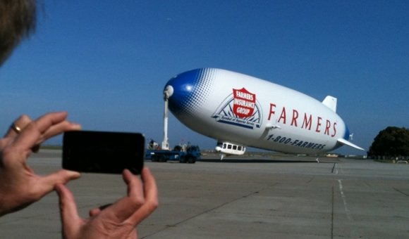Using an iPhone app to social-network the airship flight trials of some robot moon lander technology. Credit: Moon Express