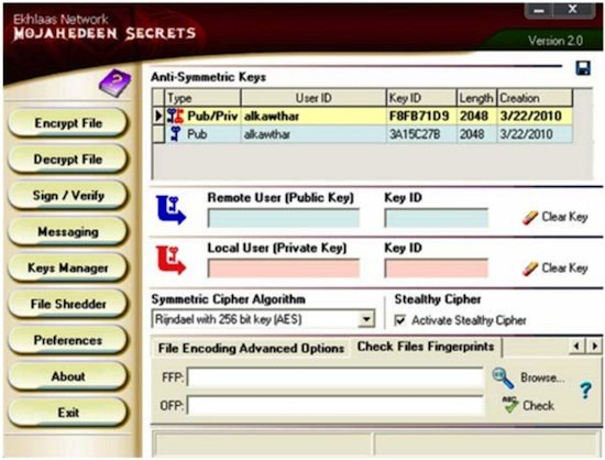 Screen capture Mujahideen Secrets program