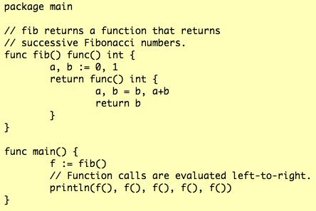 Go Fibonacci Closure