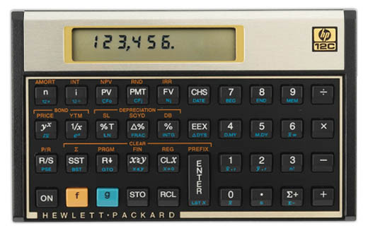 Hewlett-Packard 12C financial calculator