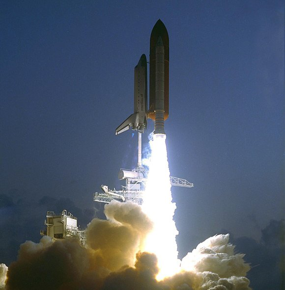 Endeavour's first launch on mission STS-49. Pic NASA