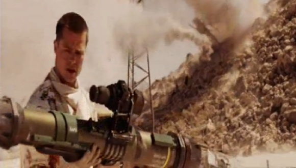 Assassin Brad Pitt having just fired a smart missile at his wife Angelina Jolie in Mr and Mrs Smith (2005)