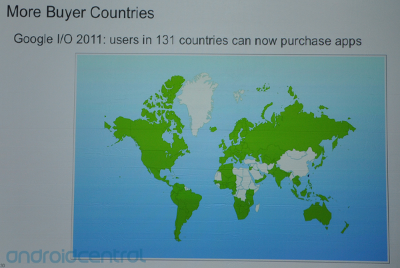 Map showing where one can buy Android apps