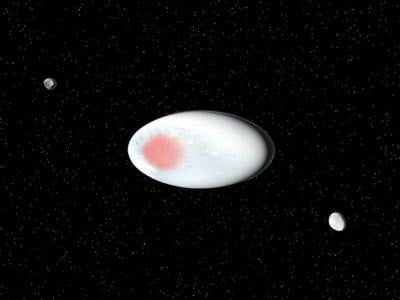 Visualisation of the dwarf planet Haumea and its satellites. Credit: SINC/Jos Antonio Peas