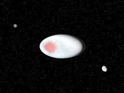 Visualisation of the dwarf planet Haumea and its satellites. Credit: SINC/José Antonio Peñas