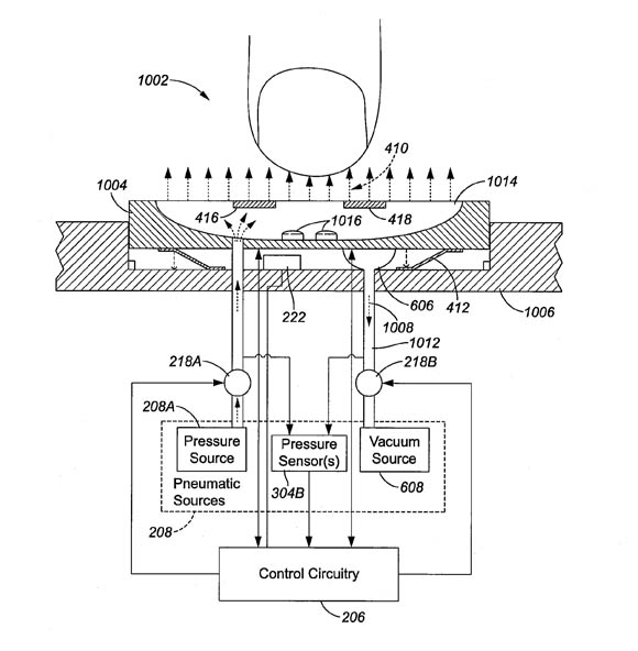 Apple patent illustration: a keyboard that blows and sucks