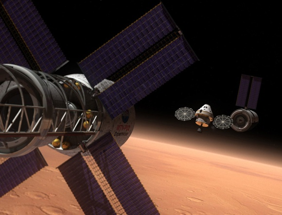 The rebranded MPCV (aka Orion) participating in a Mars mission. Credit: NASA