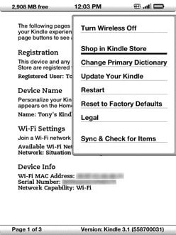 Kindle Restart menu