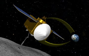 Artist's impression OSIRIS-REx collecting a sample from asteroid