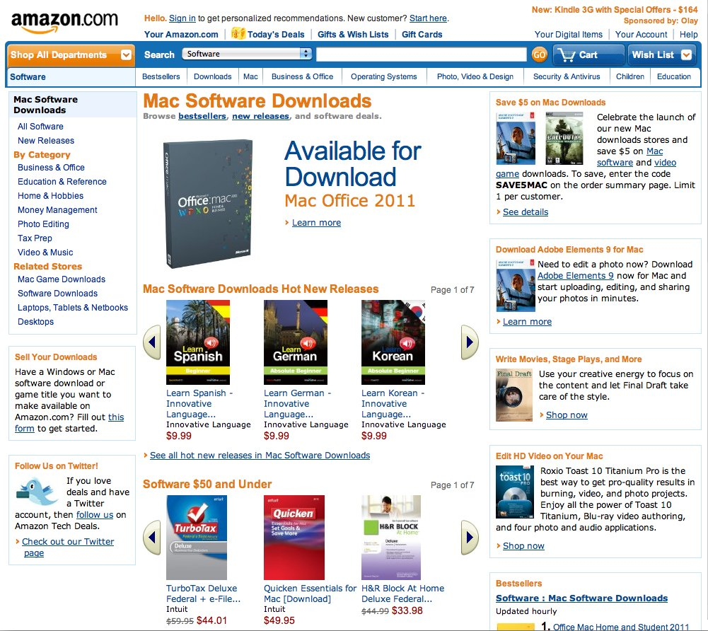 ... software section of Amazon's new Mac Download Store (click to enlarge