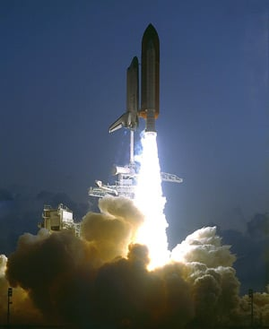 Endeavour launches on its first mission - STS-49. Pic