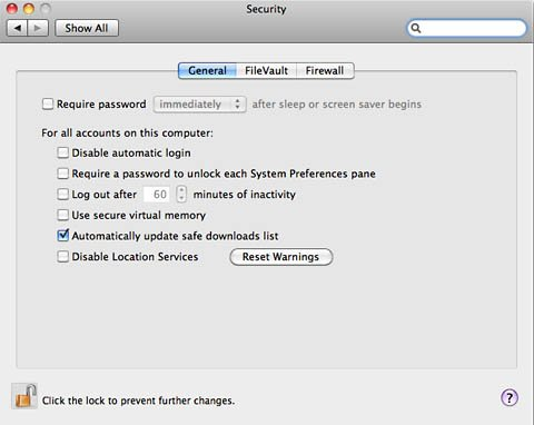 Mac OS X Security preferences pane