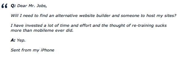 Steve Jobs email regarding iWeb