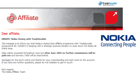 Nokia email to TradeDoubler