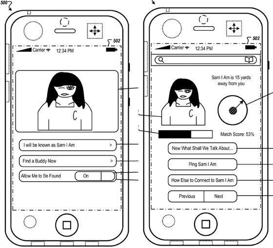 Apple social network patent